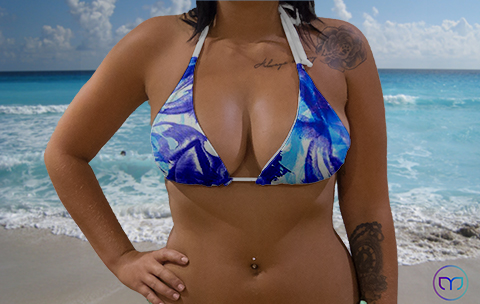 Little Triangle Blue Flowers Marleez Bikinis