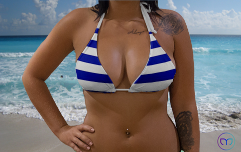 Little Triangle Blue Lines Marleez Bikinis