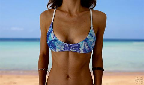 Salty Sports Bra Blue Flowers Marleez Bikinis
