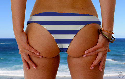 Cheeky Brazilian Blue Lines Marleez Bikinis