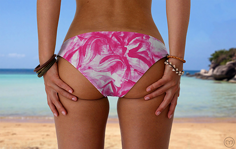 Scrunchy Hawaiian Pink Flowers Marleez Bikinis