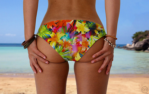 Scrunchy Hawaiian Flashing Flowers Marleez Bikinis