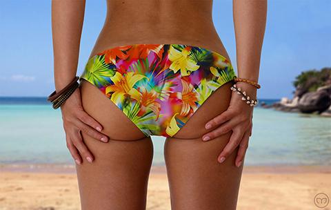 Scrunchy Hawaiian Flashing Flowers Marleez Bikinis