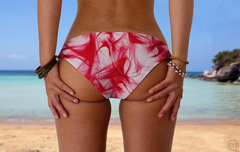 Scrunchy Hawaiian Smoky Red Marleez Bikinis