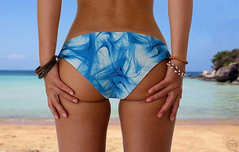 Scrunchy Hawaiian Smoky Blue Marleez Bikinis
