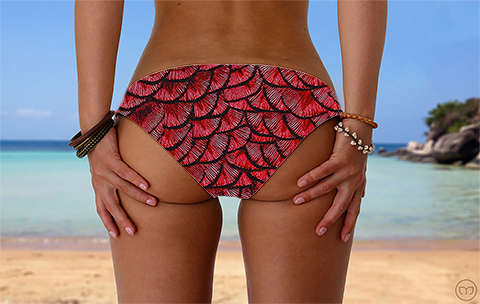 Scrunchy Hawaiian Mother of Dragon Red Marleez Bikinis