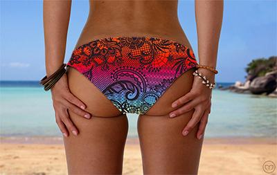 Scrunchy Hawaiian Rainbow Lace Marleez Bikinis